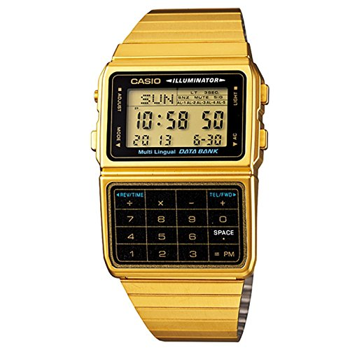 Casio DBC611G-1D Men's Gold Tone 25 Memory Calculator Databank Watch