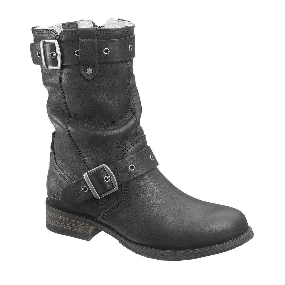 c494d7ef0 CAT Women's MIDI PULL ON Black Leather Boots P306847 MP من ماركه CAT حذاء  نسائي