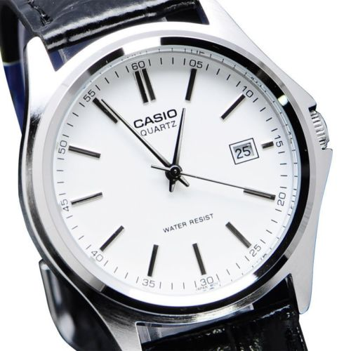 Casio MTP-1183E-7A Black Leather White Dial Analog Men Watch